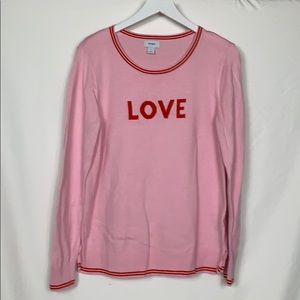 Old Navy pink sweater size Lg. LOVE on front